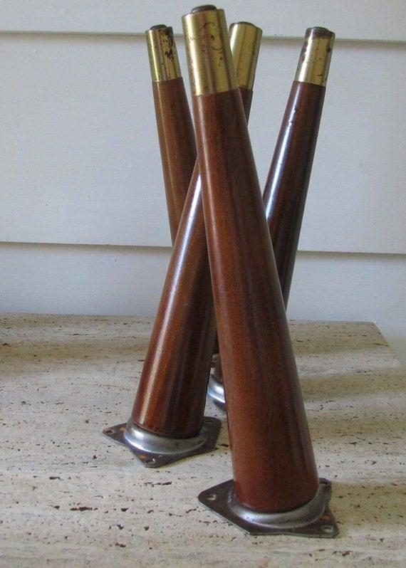 mid century modern furniture legs 4 tapered wood by saleofestates. Black Bedroom Furniture Sets. Home Design Ideas