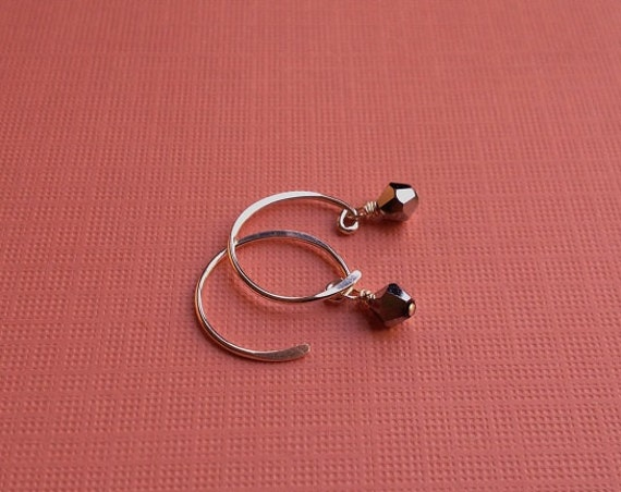 Tiny Silver Crystal Earrings