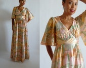 "Fab Vintage 1970's ""COCO California"" Bell Sleeve Flapper Print Maxi Dress"