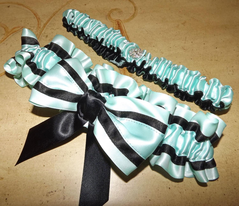 Tiffany Blue And Black Wedding Ideas: Naughty Lady Tiffany BLue And Black Wedding Garter Set Art