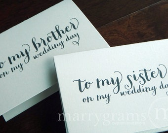 Wedding Card to Your Brother or Sister - Siblings of the Bride or Groom Cards - Brother-in-Law or Sister-in-Law Wedding Note (Set of 2) CS02