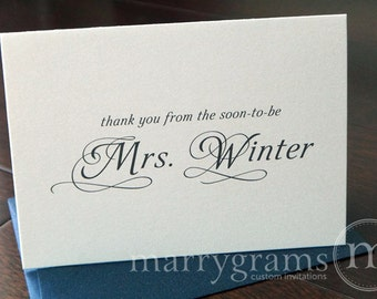 Bridal Shower Thank You From the Soon to be Mrs. Bridal Shower - Wedding Thank You Cards- Cute Shower Gift for Engaged Friend - (Set of 10)