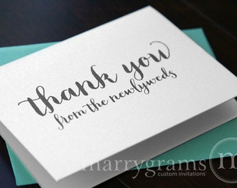 Wedding Thank You Cards from the Newlyweds... Wedding Thank You Notes - Thank You Notes from the Bride and Groom (Set of 10) CS02