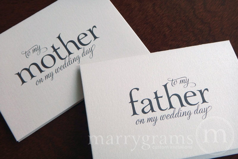 ... Parents of the Bride or Groom Cards Perfect with a Gift Just A