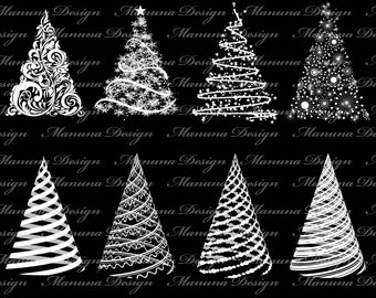 Cute Christmas tree Clip Art for scrapbooking, card making, Invites, photo cards (CA51)