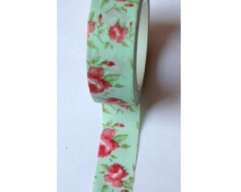 Japanese Washi Masking Tape - Red Rose with Light Green - 16 yards