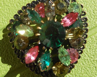 Vintage multi color rhinestone Brooch Pin
