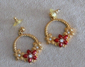 post RED enamel rhinestone dangle earrings signed Avon