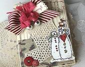 Shabby Chic Christmas Snowmen Crochet Stocking handmade card stamped