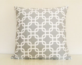 CLEARANCE 50% OFF Gray Chain Link Pillow Cover. Decorative Pillow. 18 x 18 Inch Pillow. Storm Gray and White.
