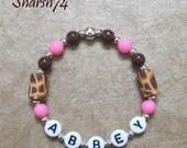 New Baby Child Pink & Brown Giraffe Fimos Custom Personalized Name Bracelet