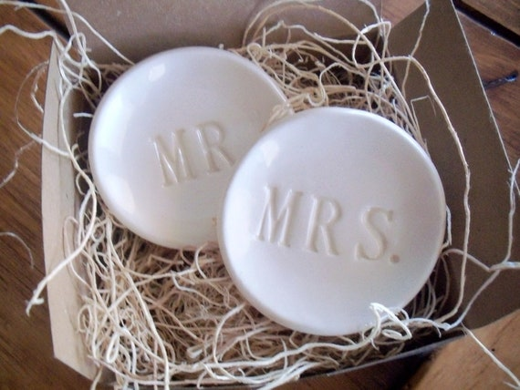 wedding ring holders, ring dish, Mr and Mrs, set of 2, engagement, Wedding Decor, White, Hand Made Pottery, IN STOCK