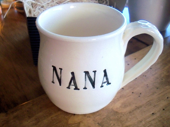 NANA mug, Coffee Cup, Black and White Hand Made Pottery, IN STOCK