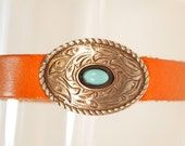 Reserved For Vickie Jenkins.Southwest Bracelet. Turquoise Concho and Leather  Bracelet. CKDesigns.us