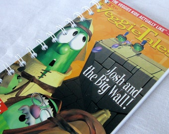 Upcycled Notebook/Recycled Notebook from a Veggie Tales Josh and the Big Wall VHS box, 50 sheets/100 pages