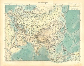 1899 Large Vintage Map of Asia,  Physical Map