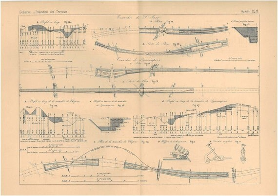 1872 Technical  Drawing Trenches France