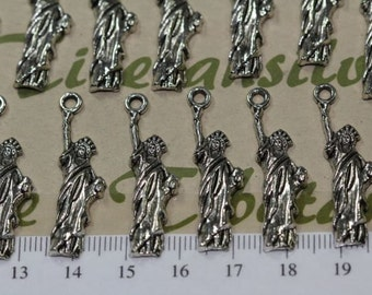 14 pcs per pack 30x6mm New York Statue of Liberty Charms Antique Silver Lead free Pewter.