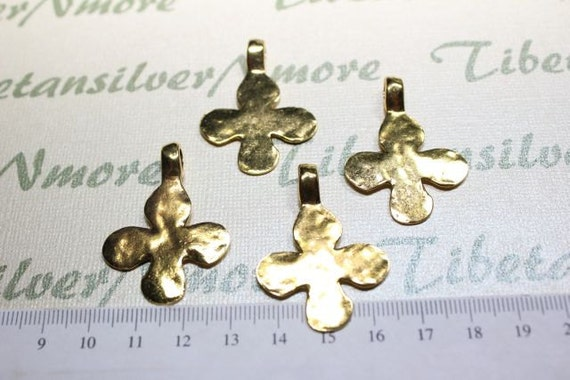 5 pcs per pack 30mm Hammered Cross Pendant Gold tone Lead Free Pewter
