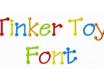 Tinker Toy Machine Embroidery Font Monogram Alphabet - 3 Sizes