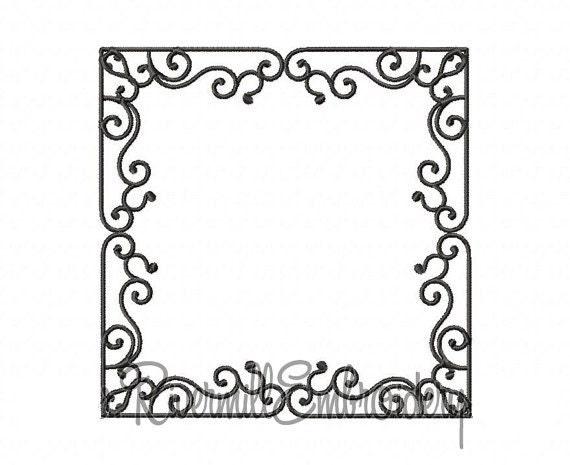 Square Monogram Font Frame Machine Embroidery Design - 4 Sizes