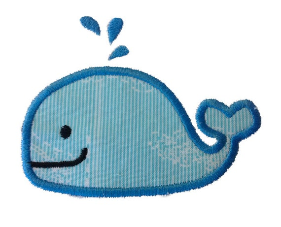 Applique Whale Machine Embroidery Design - 3 Sizes