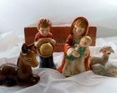 Vintage 1979 Enesco Collectible 4 Piece Ceramic Pottery Nativity Scene Set in Box. E-2717