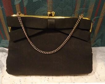 Vintage Ladies Purse Evening Bag Black Satin Peck and Peck Fifth Avenue New York