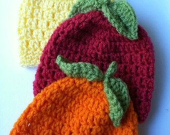 Apple Hat, Pumpkin Hat, Golden Delicious Apple Hat, Red Apple Baby Hat, Crochet Baby Hat, Newborn Baby Hat, Apple Red Infant Hat