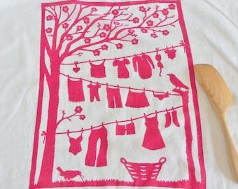 Flour Sack Dish Towel - Laundry Line:  Raspberry or Sky Blue