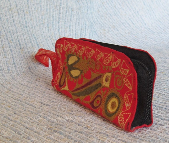 RESERVED for missmarch - Vintage Embroidered Wristlet Coin Purse Red with Retro Fish