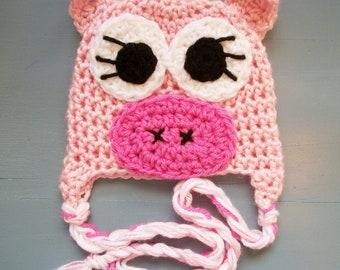 Pink Pig Animal Beanie Hat , SIZES NEWBORN-ADULT