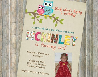 Colorful birthday party invitation with owls, Photo invitation,  Multiple Patterns, digital, printable file