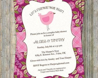 Pink bird baby shower invitations, Pink and Deep Magenta, Digital, Printable file