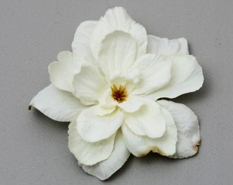 Creamy White Flower - Hair Clip - 1 piece  ----- Side Ponytail Accent - add to jacket or headband
