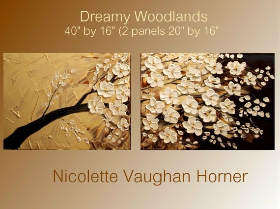 Original Impasto style painting on canvas 'Dreamy Woodlands' by Nicolette Vaughan Horner