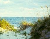 Beach Photograph Print | Calm Blue Ocean Horizon | Teal Sea, Sandy White Dunes | Beach Decor | Large Art | Outer Banks North Carolina