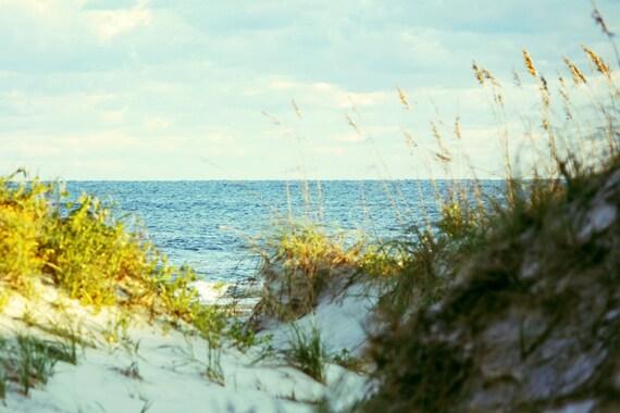 Coastal Beach Photography Print | Blue Horizon Ocean Art | Teal Sea Sandy White Dunes Beach House Decor | Large Outer Banks Wall Art Print
