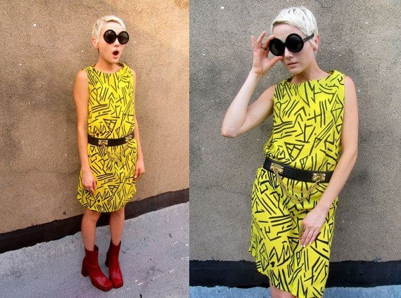 Yellow Abstract Geometric Mod Sheer See Through Crazy Dress