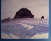 Cannon Beach Purple and Blues Original oil paining Canvas Painting Haystack Rock