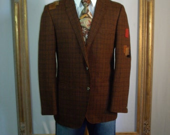 CLEARANCE Vintage 1960's California Clothes Brown Plaid Sportcoat - Size 42