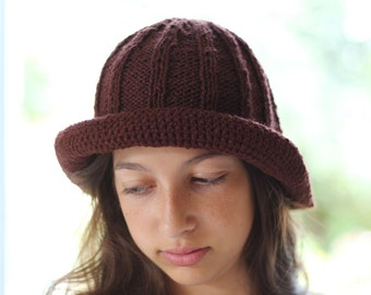 PDF brown knitted crochet pattern Hat cap tutorial