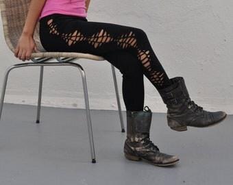 Black Cotton Braided Leggings - Slashed Leggings - Women's Leggings