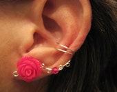 "Non Pierced Ear Cuff  ""Desert Rose"" Cartilage Conch Cuff Color Choices Wedding Prom"