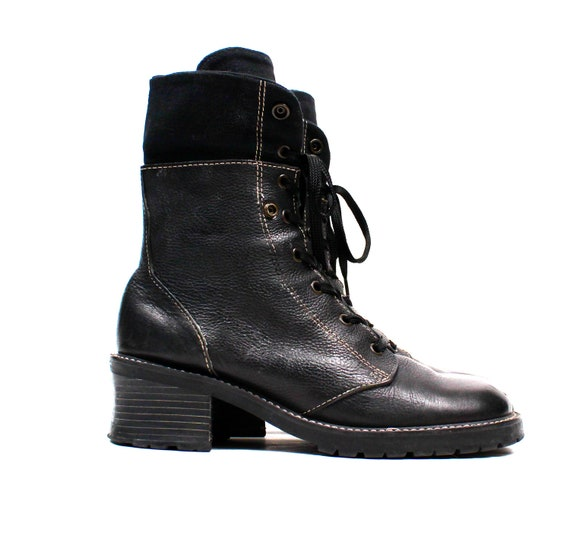 1990s TALL Grunge Boots / Black Textured Best Leather LAce Up Chunky Platform Heel Vintage Shoes // Womens size 8