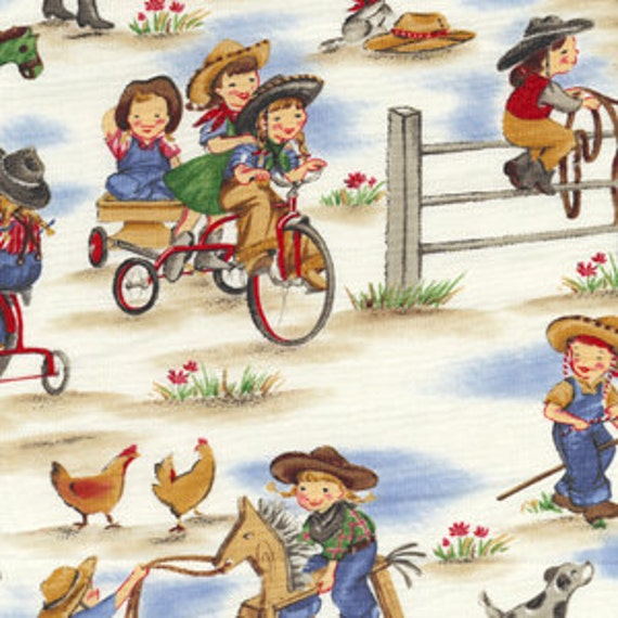 Lil cowgirls michael miller fabric by the 1 2 yard cowboy kids for Kids horse fabric