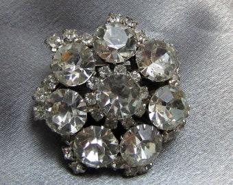 1950's Clear Rhinestone Circle Dome Pin