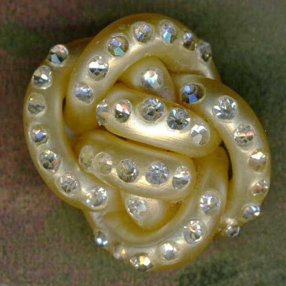 Vintage Extruded Spaghetti Celluloid Rhinestone Button 1-1/8 inch 29mm