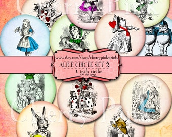 Alice Cupcake topper, colorful circle images with queen of hearts, mad hatter and white rabbit, great craft and party supplies