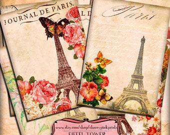 EIFFEL TOWER digital collage sheet, 6 paris vintage french designs, supplies for scrapbooking collage digital download